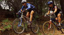 ca. 2001, California, USA --- Mountain Bikers Going Downhill --- Image by © RNT Productions/CORBIS